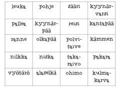 kehonosat Bingo, Kindergarten, Science, Ideas, Kindergartens, Thoughts, Preschool, Preschools, Pre K