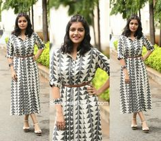 Swathi Reddy's Western Look is part of Kalamkari dresses - For the London Babulu movie trailer launch, actress Swathi Reddy picked a monochrome shirt dress Kurti Neck Designs, Kurta Designs Women, Kurti Designs Party Wear, Kalamkari Dresses, Ikkat Dresses, Maxi Dresses, Indian Designer Outfits, Indian Outfits, Indian Attire