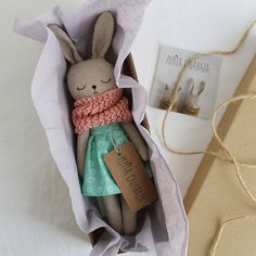 Cute bunnydoll made with organic linen and cotton ecotoys ragdolls birthday gift Sewing Toys, Sewing Crafts, Sewing Projects, Diy Crafts, Fabric Toys, Fabric Crafts, Muñeca Diy, Fabric Animals, Soft Dolls