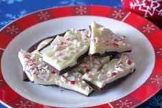 Peppermint Bark...I usually make mine with just white chocolate but this year I think I'm going to try it like this!