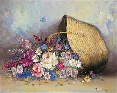 Lara: Flower Basket II ready-made picture mural flower basket country house Daisy Painting, Oil Painting Flowers, Garden Painting, Art Floral, Mural Wall Art, Canvas Wall Art, Watercolor Illustration, Watercolor Paintings, Rennaissance Art
