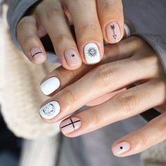 celestial minimal nail art design
