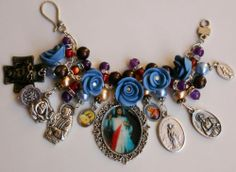 Divine Mercy Beautiful Handmade Catholic Charm Bracelet w Saints Medal and Roses Brass cross with image of Jesus  Miraculous medal locket  St. Pio  Jesus with Sacred Heart  Mary with Sacred Heart  Our Lady of Graces  St. Bridget  St. Cecilia