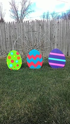Easter eggs  Outdoor Wood Yard Art Lawn by MikesYardDisplays