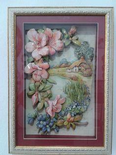 Çerçeveli Üç Boyutlu Kağıt Rölyef Tablo Fun Crafts, Diy And Crafts, Arts And Crafts, 3d Art Painting, Diy Flowers, Flower Diy, Pictures To Paint, Vintage Floral, Decoupage