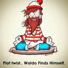Meditation Cartoon Fun: Waldo finds himself (yoga fun, humour & laughter) . Yoga Humor, Exercise Humor, Yoga Zen, Yoga Meditation, Ou Est Charlie, Wheres Waldo, Little Buddha, Bd Comics, Spanish Memes