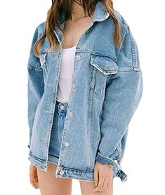 9b64844019a Baggy Spread Collar Plus Size Long Sleeve Button Front Denim Jacket Long Denim  Jacket, Denim
