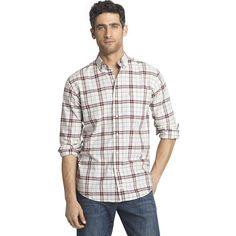 Men's IZOD Saltwater Classic-Fit Plaid Oxford Button-Down Shirt, Size: XXL, Red Other