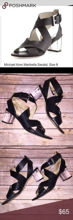 """Micheal Kors Mirabella Open Toe Sandals Used. Leather Open Toe Sandals. Light wear as can be seen in pics. 2.5"""" lucite block heels. Michael Kors Shoes Heels"""