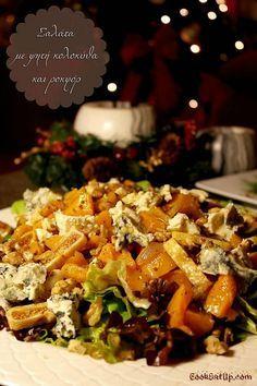 Σαλάτα με ψητή κολοκύθα και ροκφόρ Greek Recipes, Vegan Recipes, Snack Recipes, Cooking Recipes, Xmas Food, Christmas Cooking, Food Decoration, Salad Bar, Appetisers