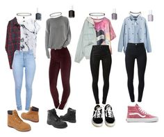 """90s Grunge school outfits"" by stellaluna899 ❤ liked on Polyvore featuring H&M, Vans, Miss Selfridge, Wet Seal, Monki, American Apparel, J Brand, Timberland, Topshop and Essie"