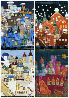 Creative Villages by Lene Alve, Finland.  From a class by Karen Eckmeier, posted at Quilted Lizard