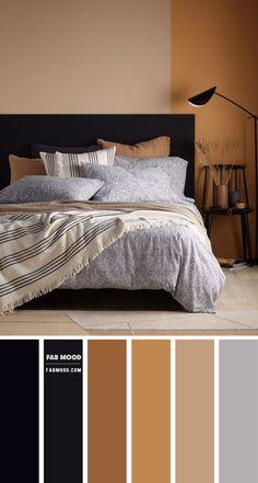 Warm Bedroom Colors, Bedroom Colour Palette, Bedroom Color Schemes, Black Color Palette, Room Ideas Bedroom, Home Decor Bedroom, Earth Tone Bedroom, Earth Tone Decor, Black Bedroom Furniture