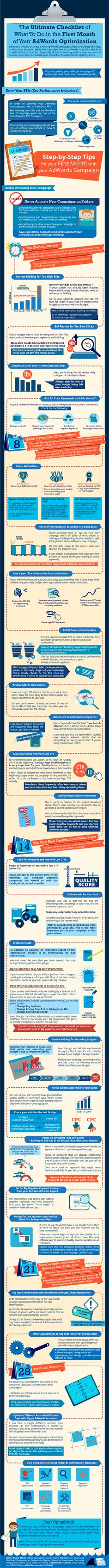 The Ultimate Checklist on How to Optimize Your Google AdWords Campaign in the First Month #Infographic #yvlcm
