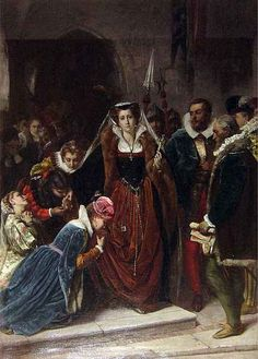 """February 8, 1487: Mary, Queen of Scots, executed. """"I forgive you with all my heart, for now, I hope, you shall make an end to all my troubles,"""" Mary told the executioner. His first blow missed her neck altogether. The second struck her neck, but didn't cut through -- he had to saw through to finish the job. When he held her head aloft by the hair, her wig came off and her head rolled to the ground. Then, a bloody little Skye terrier emerged from her skirts, and refused to leave his mistress."""