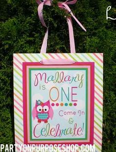 Owl Birthday Party Door Sign The Mallary by PartyOnPurposeShop