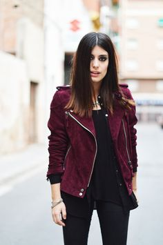 Leather jackets too edgy? Opt for a (faux) suede one for a softer look.