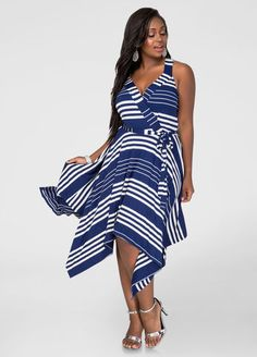 TWIRL ON THE HATERS Buy the Look STRIPED HANKY HEM DRESS ULTRA SMOOTHING SHAPEWEAR BODY SUIT METALLIC DRESS SANDAL - WIDE WIDTH
