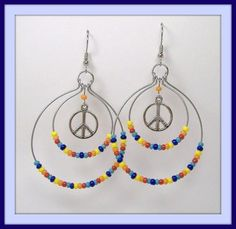 Peace of Rainbow Hoop Earrings Handcrafted Dangly Silver Tone Charms Seed Beads #MDHcrafts #Dangle