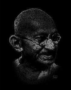 Mahatma Ghandi Typography Portrait justo-terez-jr.artistwebsites.com