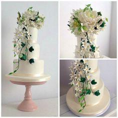 Azúcar Flores Bouquet pastel de bodas.  Peony, Jazmin y Dendrobium Orquídea