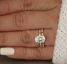 Wedding Ring Set Moissanite Rose Gold Engagement Ring Oval