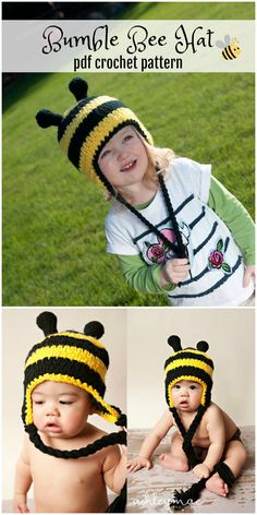 Bumble hat crochet pattern in sizes baby to adult. Instant digital download. Such a cute pattern! Adorable! #crochet #pattern #costume #ad #etsy
