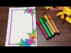 File Decoration Ideas, Page Decoration, Boarder Designs, Page Borders Design, Front Page Design, Paper Art Design, Paper Drawing, Drawing Art, Notebook Cover Design