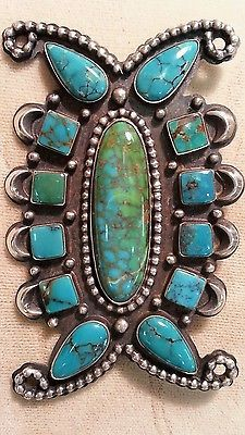 Vintage-Native-American-Sterling-Turquoise-Pin-Brooch-Signed-R-H-Boyd