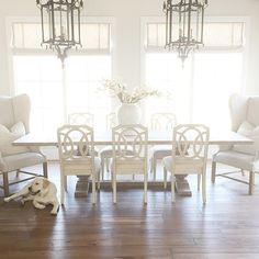 Dining Room. Wing Chair Dining Room. Dining room with huge dining room table and wing chairs. #DiningRoom #WingChair Pink Peonies White Dinning Chairs, Dining Room Table Chairs, Dining Area, White Dining Room Furniture, Living Room Chairs, Table Furniture, French Dining Chairs, Leather Dining Room Chairs, French Table