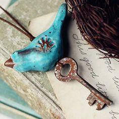 Aqua Bird folk ornament- handmade ceramic christmas ornament. $24.00, via Etsy.