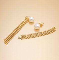 Swarovski Pearls Gold Ball Drop Sterling Silver Earrings