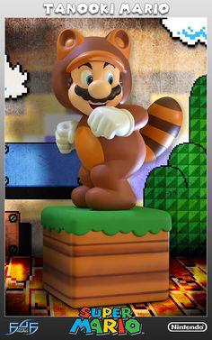 """Statue de Mario Tanuki en résine de qualité finie et peinte à la main taille 38cm sous licence officielle, inspirée du jeu vidéo """"Super Mario"""". Réalisée par First 4 Figures. Édition limitée, numérotée sous le socle et fournie avec certificat d'authenticité. Édition limitée à 2000 exemplaires/monde"""