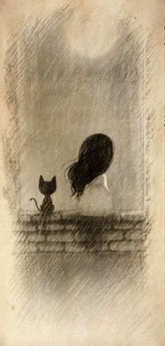 Reminds me of myself as a little girl. Always loved kittens and cats and there were always some around on the farm. Love my black cat now. Crazy Cat Lady, Crazy Cats, Illustration Art, Illustrations, Bild Tattoos, Cat Love, Love Art, Painting & Drawing, Drawing Drawing