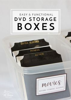 Are you tired of DVD boxes taking up so much space? Organize and streamline your DVDs with these simple DVD Storage Boxes with dividers! Dvd Storage Boxes, Diy Dvd Storage, Dvd Organization, Media Storage, Home Office Organization, Smart Storage, Cube Storage, Garage Storage, Organizing Ideas