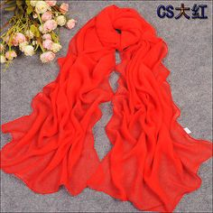 New-Fashion-soft-Pure-Red-color-oblong-Georgette-Scarves-scarf-Shawl
