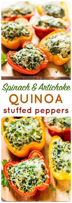 Minus the quinoa for vegetarian keto! Cheesy Spinach Artichoke and Quinoa Stuffed Peppers. EASY, healthy, and DELICIOUS recipe! Veggie Recipes, Vegetarian Recipes, Cooking Recipes, Healthy Recipes, Alkaline Recipes, Stuffed Food Recipes, Cooked Spinach Recipes, Quinoa Recipes Easy, Cheap Recipes