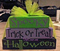 Trick or treat wood blocks