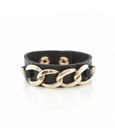 Leather Cuff with gold plated Links - Black Leather Cuffs, Plating, Jewelry Accessories, Belt, Collection, Black, Fashion, Belts, Moda