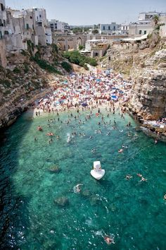 La spiaggia at Polignano a Mare, Bari, Italy - one of the most beautiful places I have visited in Italy.