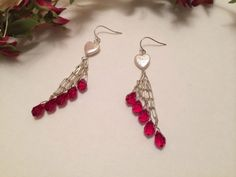 Red Crystal Pearl Earrings Wire Wrapped Sterling by NeutralNellies