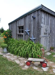 Garden tour: a landscape in vignettes wood shed, greenhouse gardening, gard Rustic Shed, Wood Shed, Outdoor Projects, Garden Projects, Olive Garden, Potting Sheds, Potting Benches, Garden Equipment, She Sheds