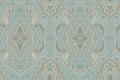 Umbrain (AR200574) - Shand Kydd Wallpapers - An all over damask shown in cream and taupe and aqua with metallic silver highlights. This is a pre pasted product. Please request a sample for a true colour match.