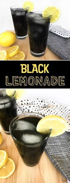 Black lemonade is a refreshing drink that gets its black color from activated charcoal. Halloween drink| party drink