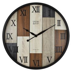 Featuring a multicolored wood panel design, the FirsTime Timberline Wall Clock adds rustic-chic style to any room. Black Roman numerals bring graceful style to this versatile wall clock. Diy Clock, Clock Decor, Silver Wall Clock, Outdoor Wall Clocks, Wood Clocks, Big Wall Clocks, Clock Wall, Wall Clock Online, Wall Clock Design