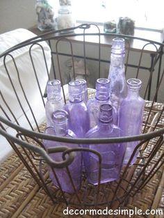 Painted Vintage Bottles eclectic vases