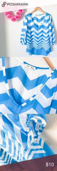 Wishful Park Chevron Chiffon High Low Top Preloved but still in decent condition. A few minor snags as shown in a few pics but nothing to major. Colors are Aqua blue and white. Cuffed arms. High Low Design. Size Large. Brand is Wishful Park. 100% Polyester. Made in China 🇨🇳. Measurements: Length:21-30inch Bust:19inch ShoulderWidth:16inch Sleeve:18inch Wishful Park Tops Blouses