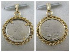 1989 ISLE OF MAN 1/25 OZ PLATINUM CROWN PERSIAN CAT COIN PENDANT 14K GOLD BEZEL