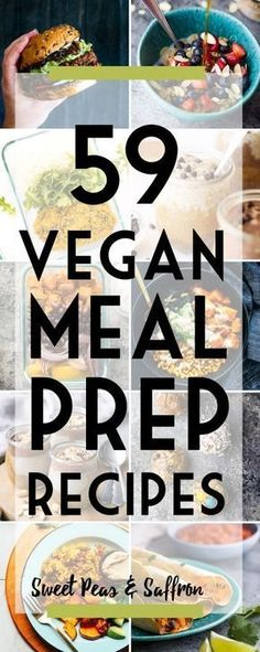 Vegan meal prep recipes: these make ahead vegan recipe ideas will have you covered for breakfast, lunch, dinner and snack! 65 delicious vegan meal prep recipes that will have you covered for convenient plant-based breakfasts, lunches, dinners and snacks! Vegan Meal Plans, Vegan Meal Prep, Meal Prep Bowls, Whole Foods, Whole Food Recipes, Cooking Recipes, Dinner Recipes, Cooking Bacon, Cooking Kale
