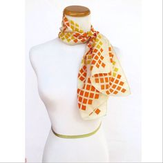 MOD Square Dots Silk Scarf Vintage 60's Orange and Yellow Dotted Retro Mid Century MCM Abstract Hair Head Wrap